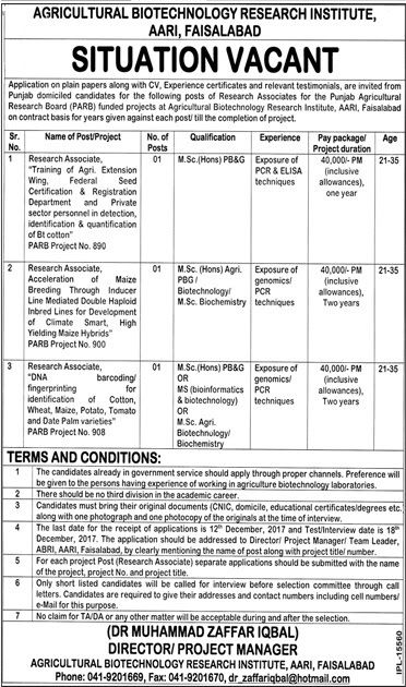 Research associate Jobs in Agriculture Biotechnology