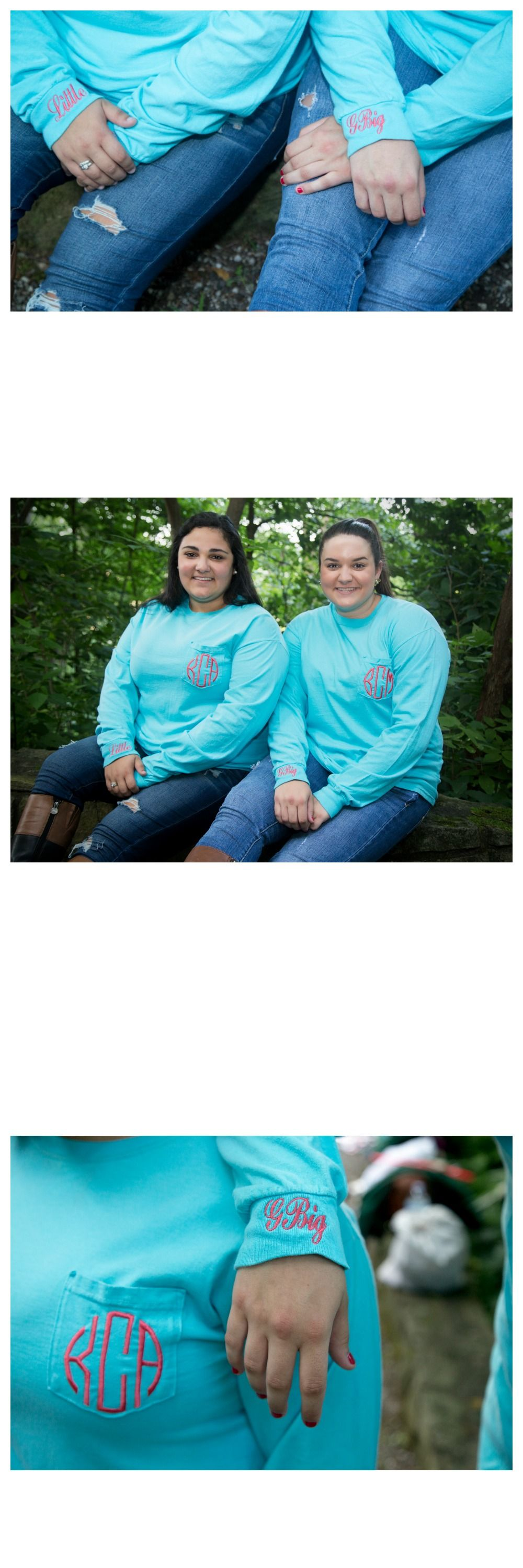Monogrammed long sleeve t-shirts with family names on the sleeve by The Initialed Life. Perfect for big & little reveal! Pin for later or click the picture for more info! #biglittlereveal