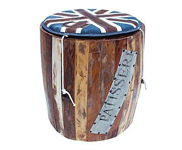 Taburete en madera de pino y denim Londres - Ø45 cm