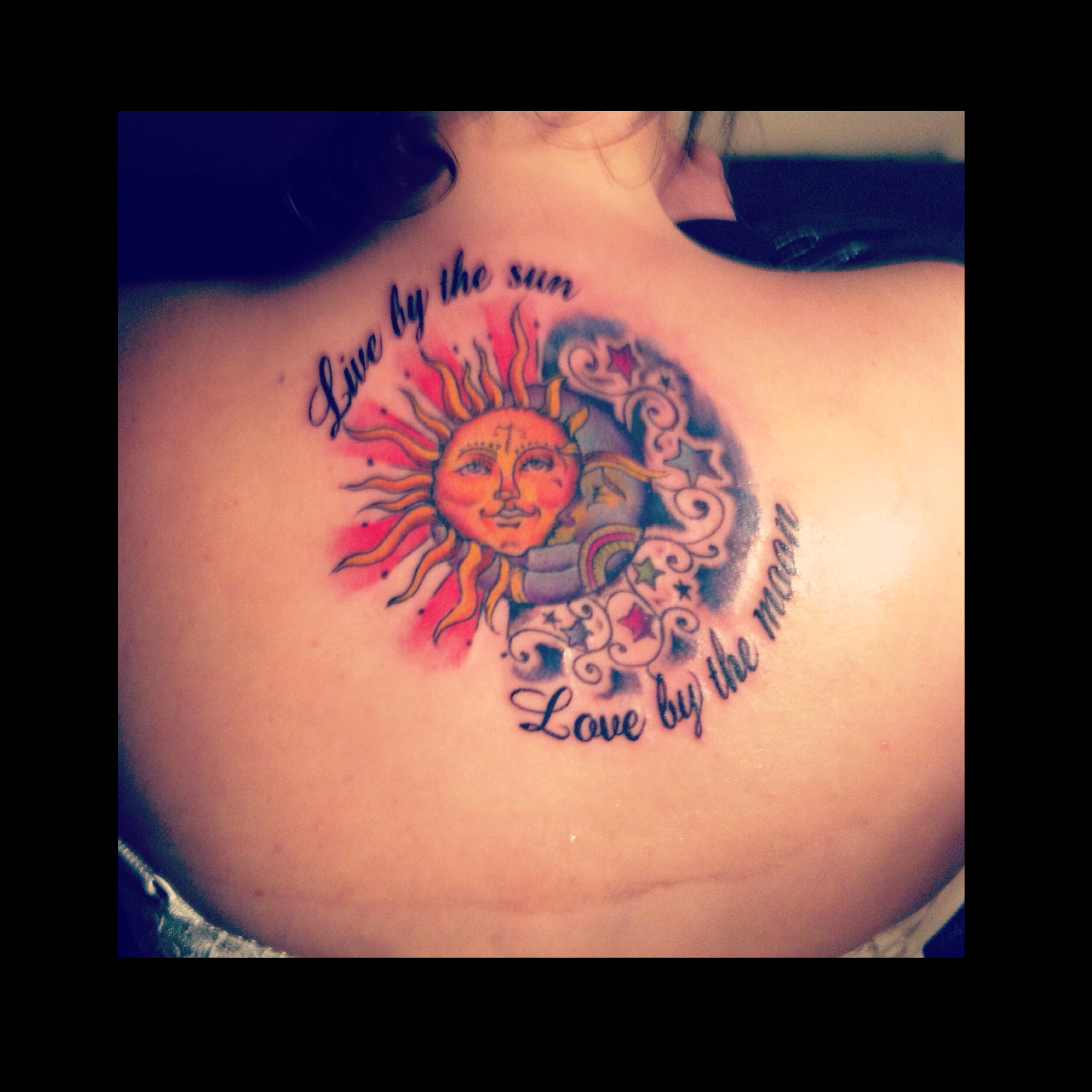 "Sun&moon Tattoo I Had Before But With The Quote ""Live By"