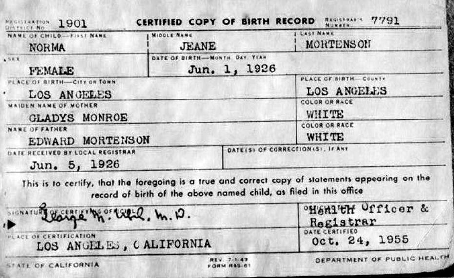 Copy of Marilyn Monroeu0027s Birth Certificate Day by Day Pinterest - copy certificate picture