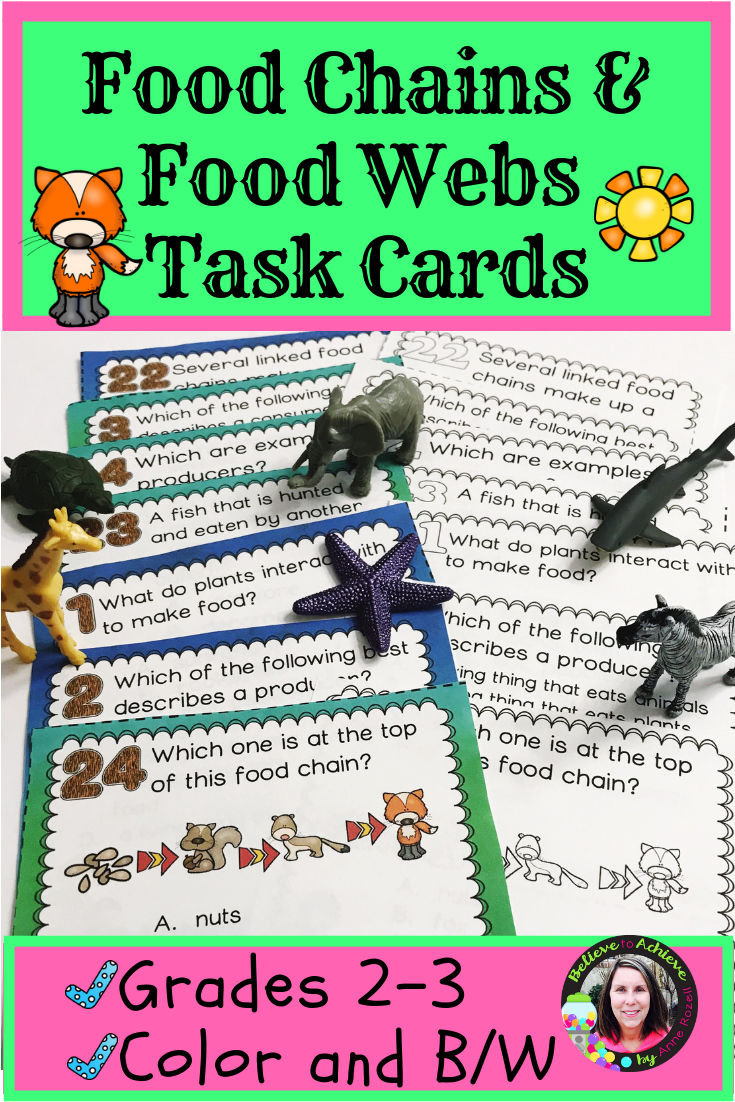 Food Chains And Food Webs Task Cards Digital And Printable Elementary Science Activities Task Cards Food Web [ 1102 x 735 Pixel ]