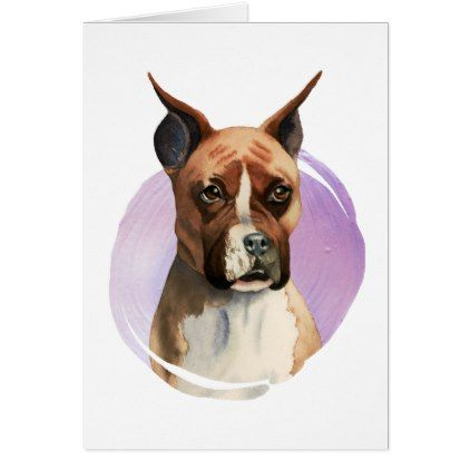 Boxer Dog Watercolor Painting Card