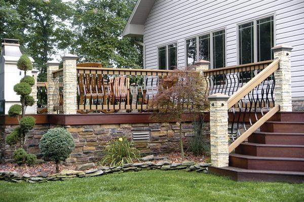 Stone Skirt Trims Out The Deck Deck Railing Design Deck