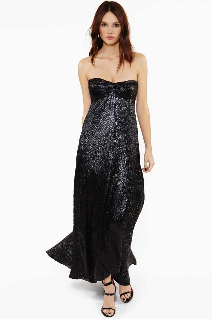 Vintage Chanel Black Metallic Maxi Dress Evening Gown From Nasty Gal
