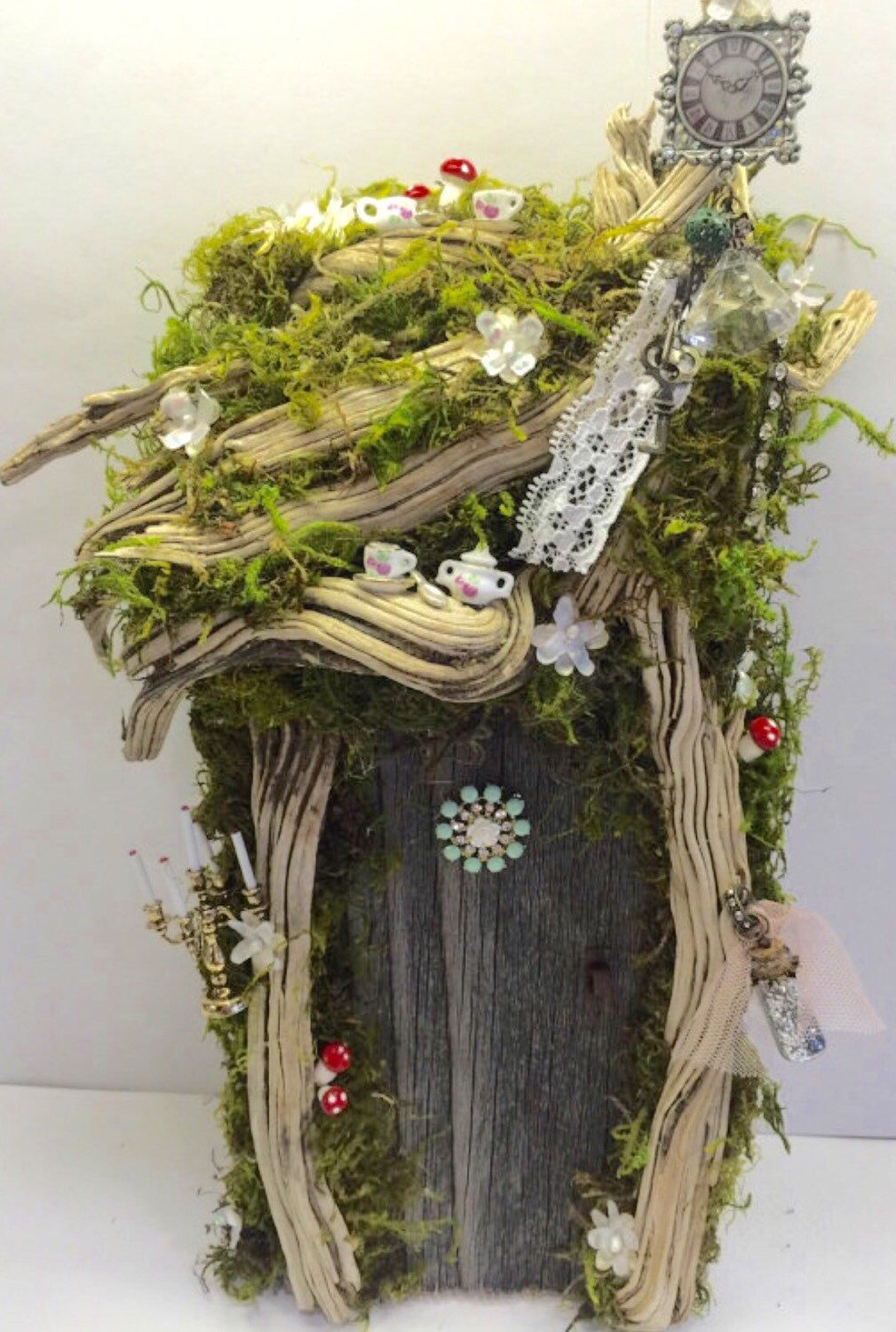 tea party large rustic shabby chic fairy door enchanted forest