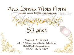 Tarjetas Invitacion Cumpleaños 50 Castellano Buscar Con