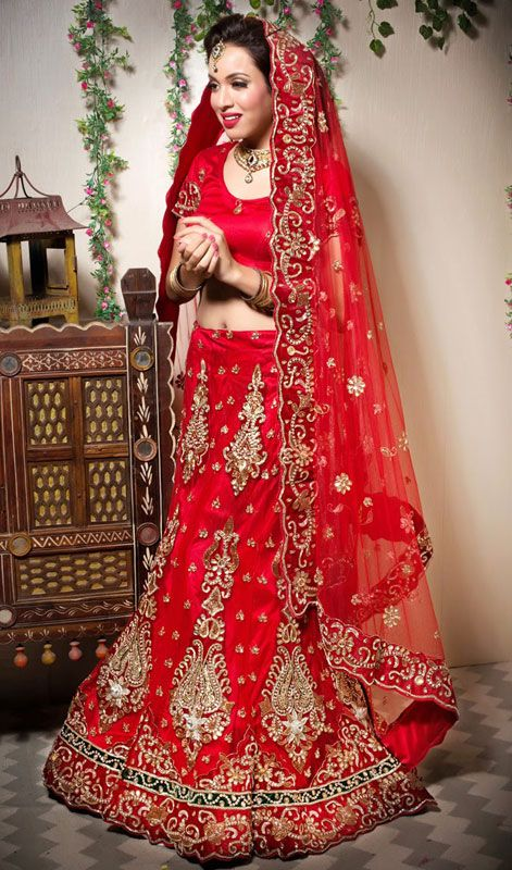 83b78a321d0 Bridal Red Embroidered Net Lehenga Choli Price  Usa Dollar  388 ...