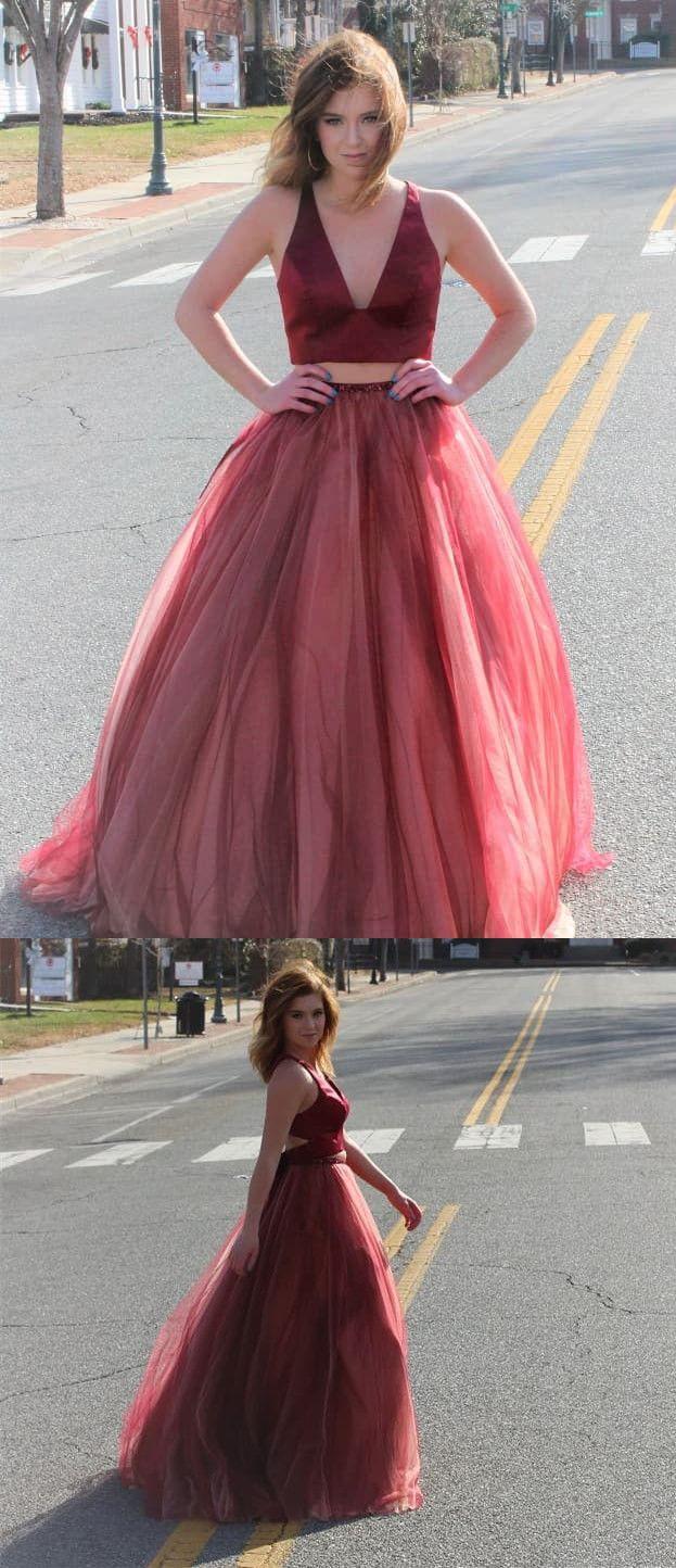 Princess two piece burgundy long prom dress from modsele long prom