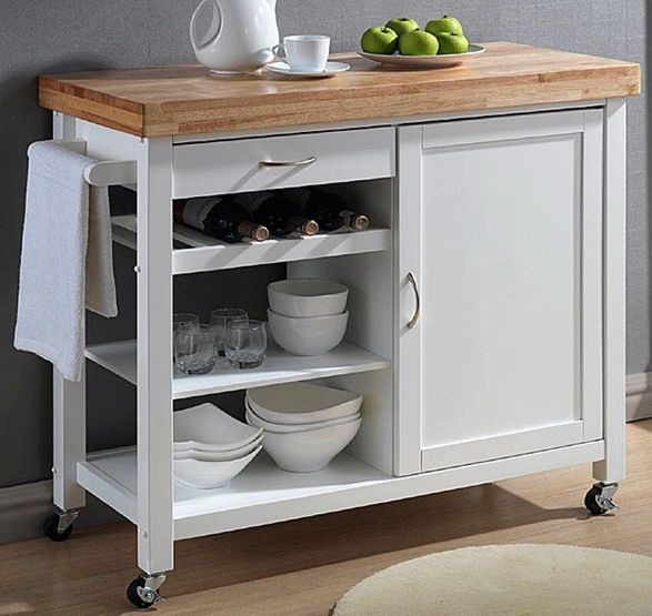Kitchen Island Cart Portable Rolling Microwave Table Top Wood