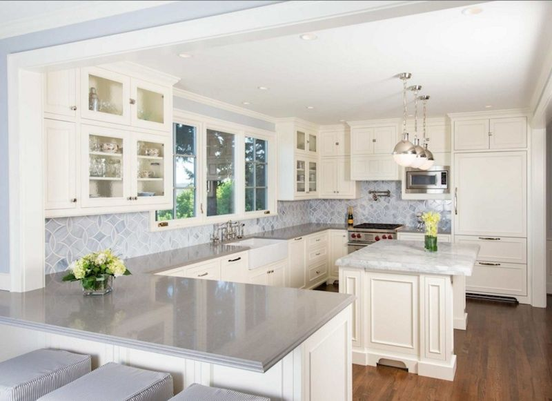 Best Kitchen Ideas L Shaped White Country Kitchen Counter With 640 x 480