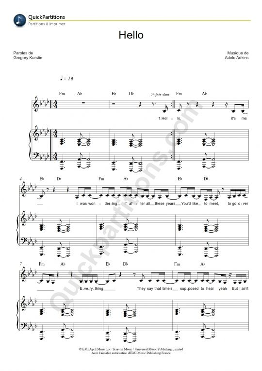 partition piano hello adele partition piano piano sheet music et piano sheet. Black Bedroom Furniture Sets. Home Design Ideas
