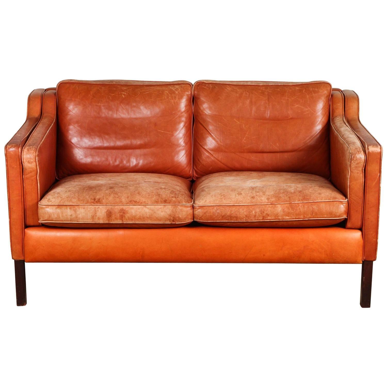 Borge Mogensen Mid Century Leather Loveseat Burnt Orange Leather Vintage Sofa Mid Century Leather Loveseat Metal Dining Chairs