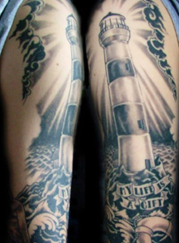 29a9ff359133f Lighthouse tattoo for mom, and maybe make the stripes red | Tatt ...