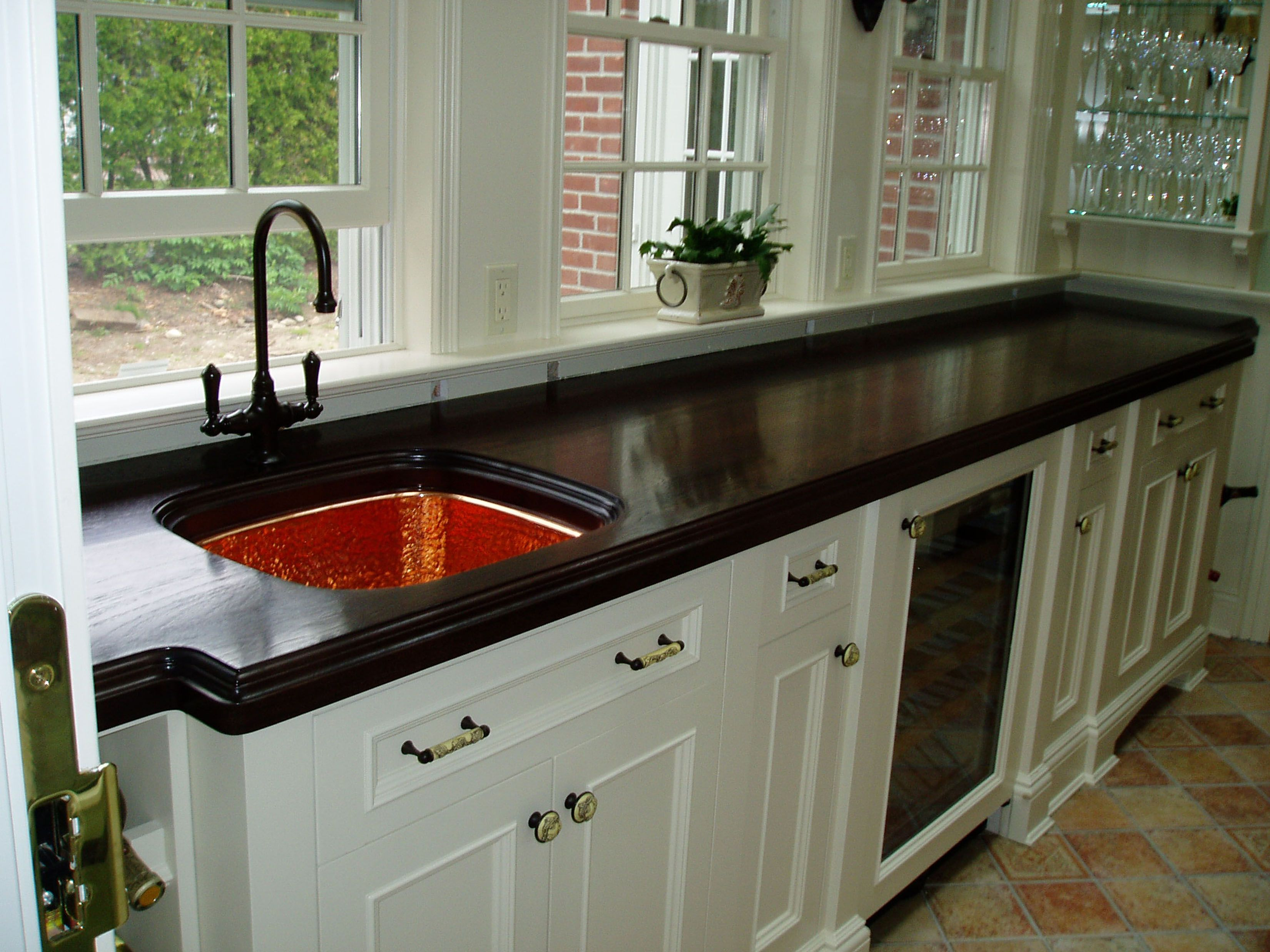 Stained Walnut Countertop With Hammered Copper Sink Brookscustom