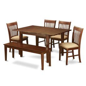 East West Furniture Picasso Mahogany Dining Set With Rectangular Dining (29-In To 31-In) Table Psno6c-Mah-C