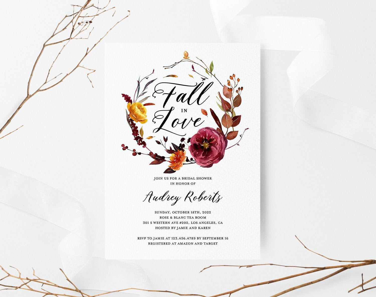 Fall in love bridal shower invitation template floral