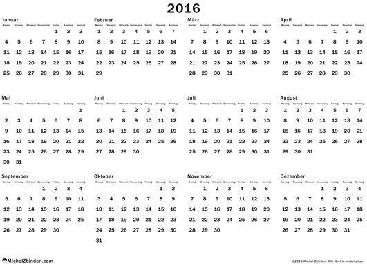 kalender 2016 j rlich kostenlos zu ausdrucken regelm ssig 2016 montag. Black Bedroom Furniture Sets. Home Design Ideas