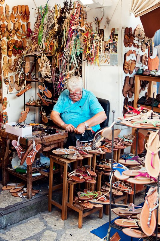 Italy, summer days on the Amalfi Coast. Sandal maker in Anacapri. Copyright Millie Brown