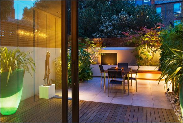 Modern Urban Garden Design And Build Courtyard, Landscape Lighting