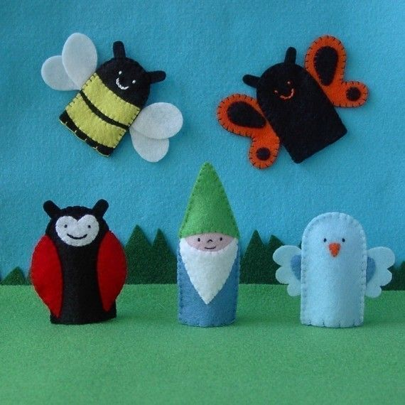 bee finger puppet template - finger puppets garden set bee ladybug gnome butterfly