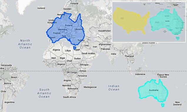 Interactive world map shows just how large australia is the true scale of australia interactive map shows how the country completely dwarfs europe gumiabroncs Images