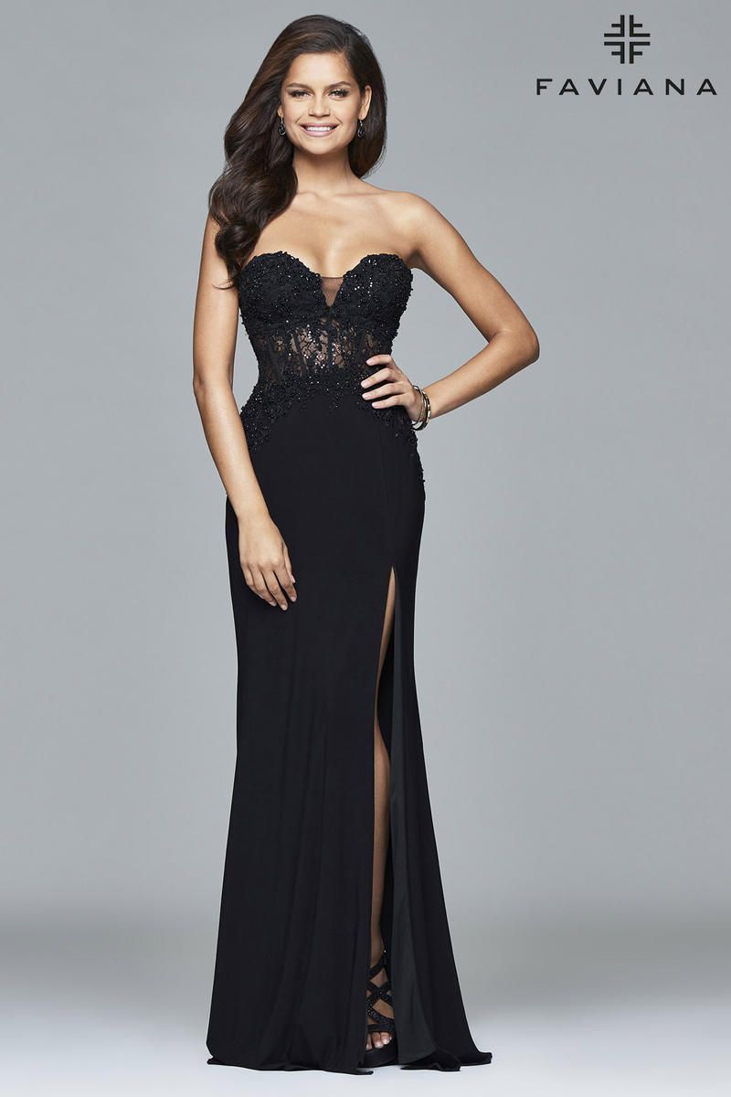 472b5993b150 Faviana Glamour S7907 is a stunning strapless gown. Perfect for an  hourglass figure