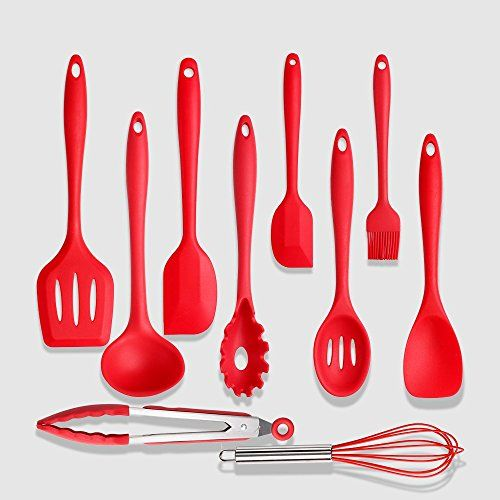 Heat Resistant Silicone Kitchen Utensils Set Of 10 Nonstick Coated Dishwasher Safe Cooking Tool Gadgets