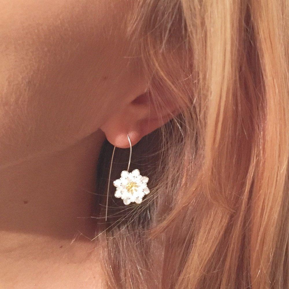 Lotus Bloom Long Wire Earrings by 11RugbyRoad on Etsy