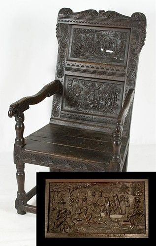 AN AMERICAN FOLK ART MASTERPIECE: RELIEF-CARVED CHAIR WITH DEPICTIONS OF WILLIAM PENN'S TREATY WITH THE INDIANS AND THE LANDING OF THE PILGRIMS AT PLYMOUTH ROCK