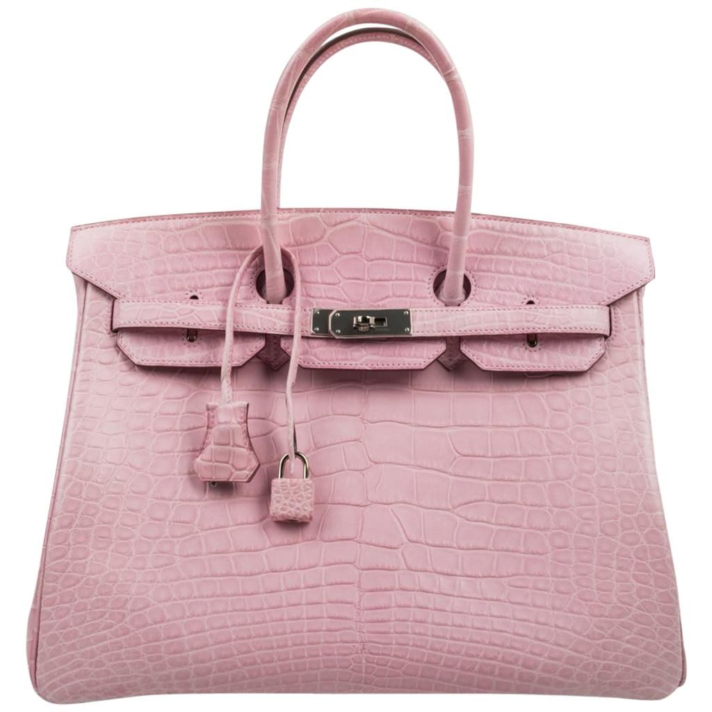 Hermes Matte Pink Crocodile Birkin Bag