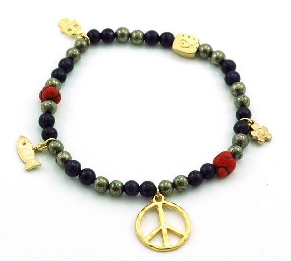 Purple Jade Pyrite Stretch Anklet
