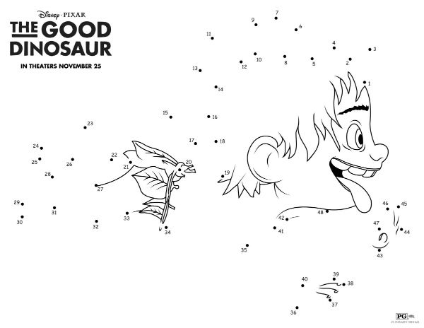 Disney The Good Dinosaur Spot Connect The Dots | Printable Coloring ...