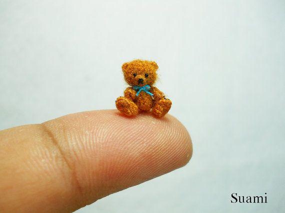 Micro Amigurumi Bear 0.4 Inch - Tiny Crochet Miniature Mohair Teddy ...