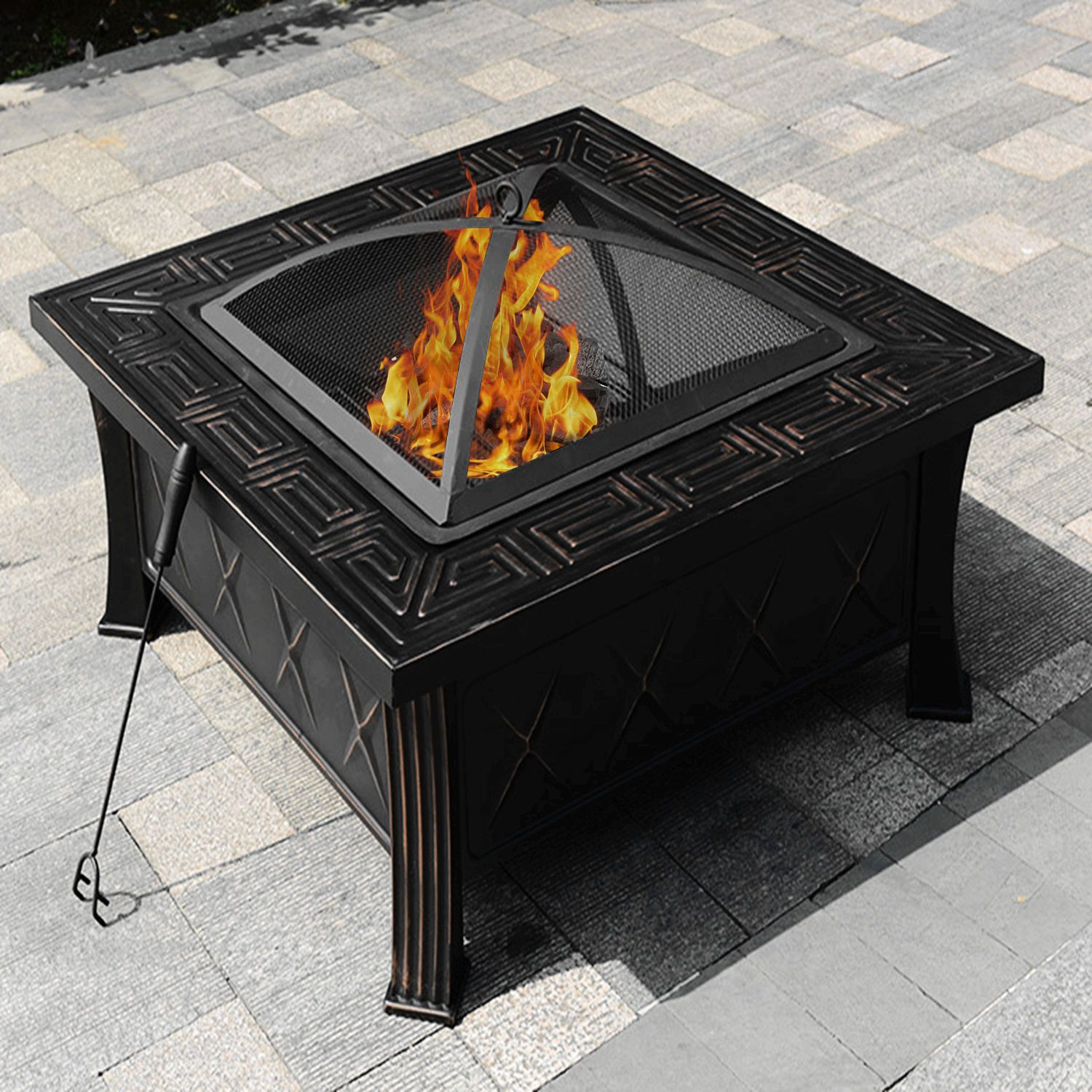 32 Square Fire Pit Fire Bowl Outdoor Bbq Burning Grill Patio Poker Grate Cover Fire Pits With Images Wood Fire Pit Propane Fire Pit Table Square Fire Pit