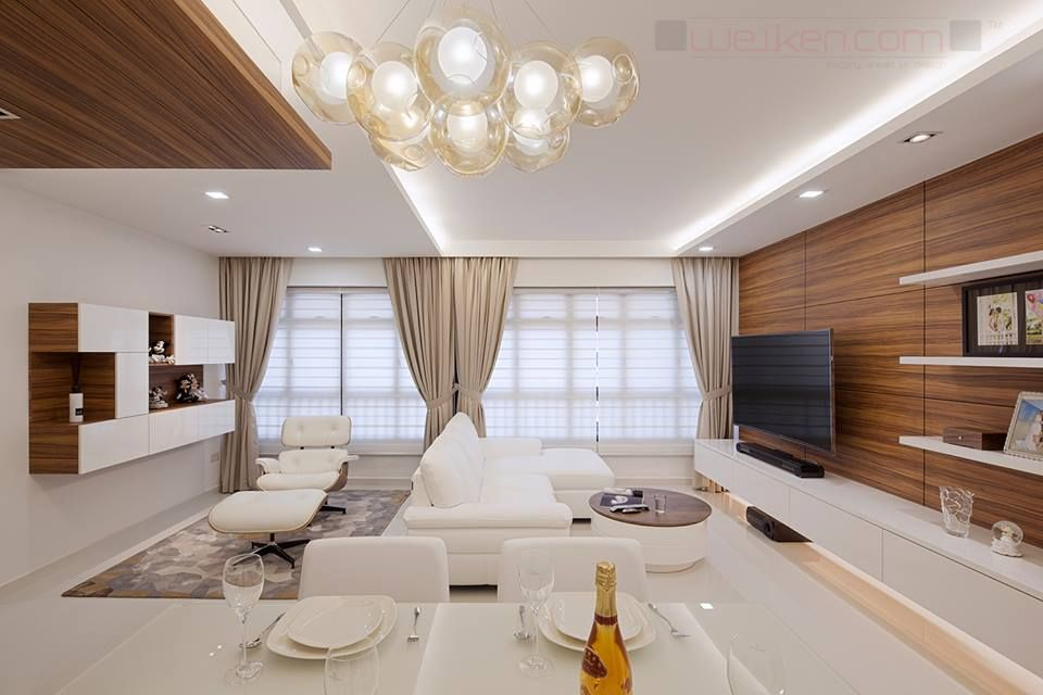 weiken white and wood living area interior design - Weiken Interior Design