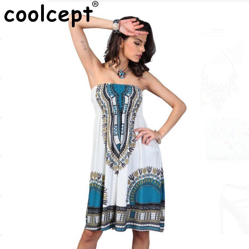 53f89073857 Boho Summer Women Dress Sexy Sundresses Off Shoulder African Ethnic Floral  Print Tunic Beach Dresses Big