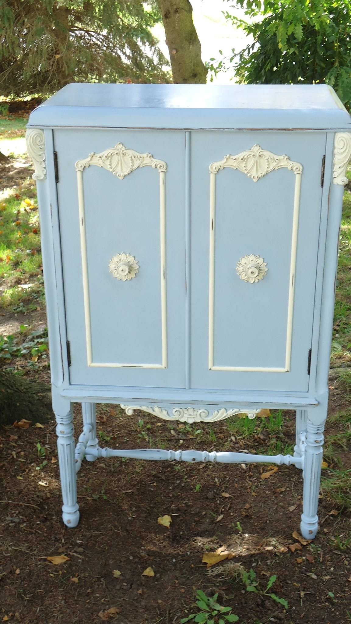 Vintage Radio cabinet Annie Sloan chalk paint in Louie Blue and Old ...