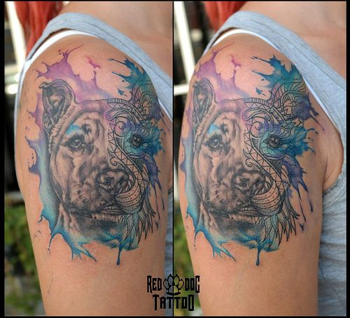 Watercolor Dog Portrait Tattoo Dog Portrait Tattoo Cat Dog