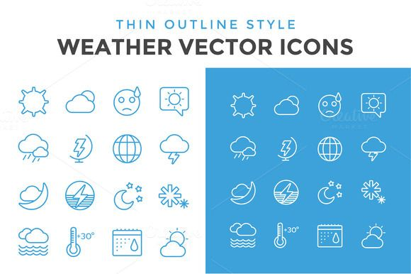 Weather vector icons outline set by Vector-Stock on Creative Market