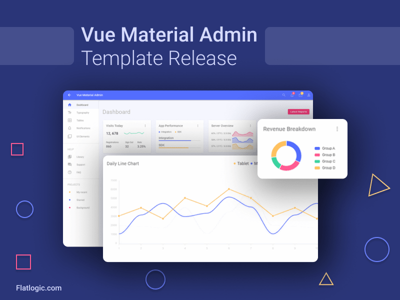 Vue Material Template Free Open Source Vue Material Admin Template Templates Business Template Learn Javascript