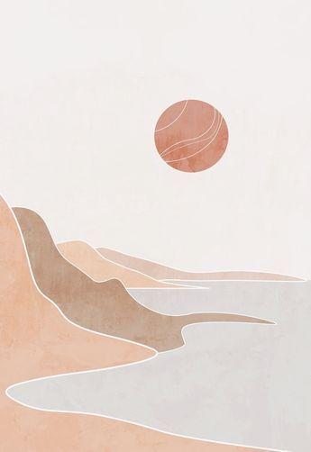 Boho modern terracotta ocean poster, landscape drawing, boho beach print, mid century painting, abstract art print, printable wall art