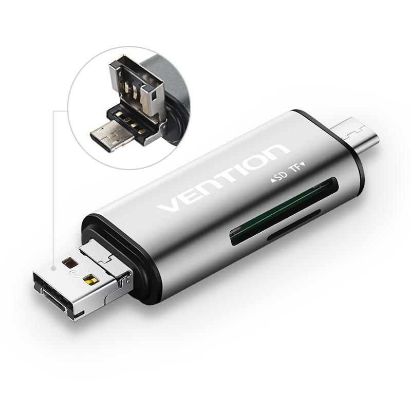 Vention CCGH0 3-in-1 Type-C USB 2 0 Micro USB SD TF Micro SD Card