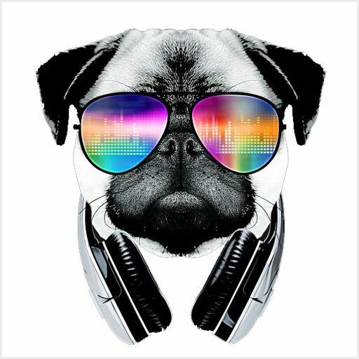 Dj Pug Dog With Headphones Sunglasses Desenho Africano Preto E