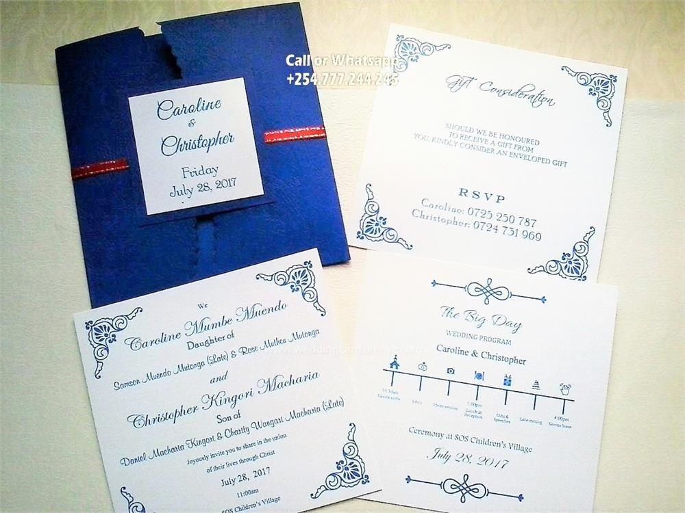 Curve Pocket Navyblue Wedding Cards Christian Wedding Cards Wedding Card Sample