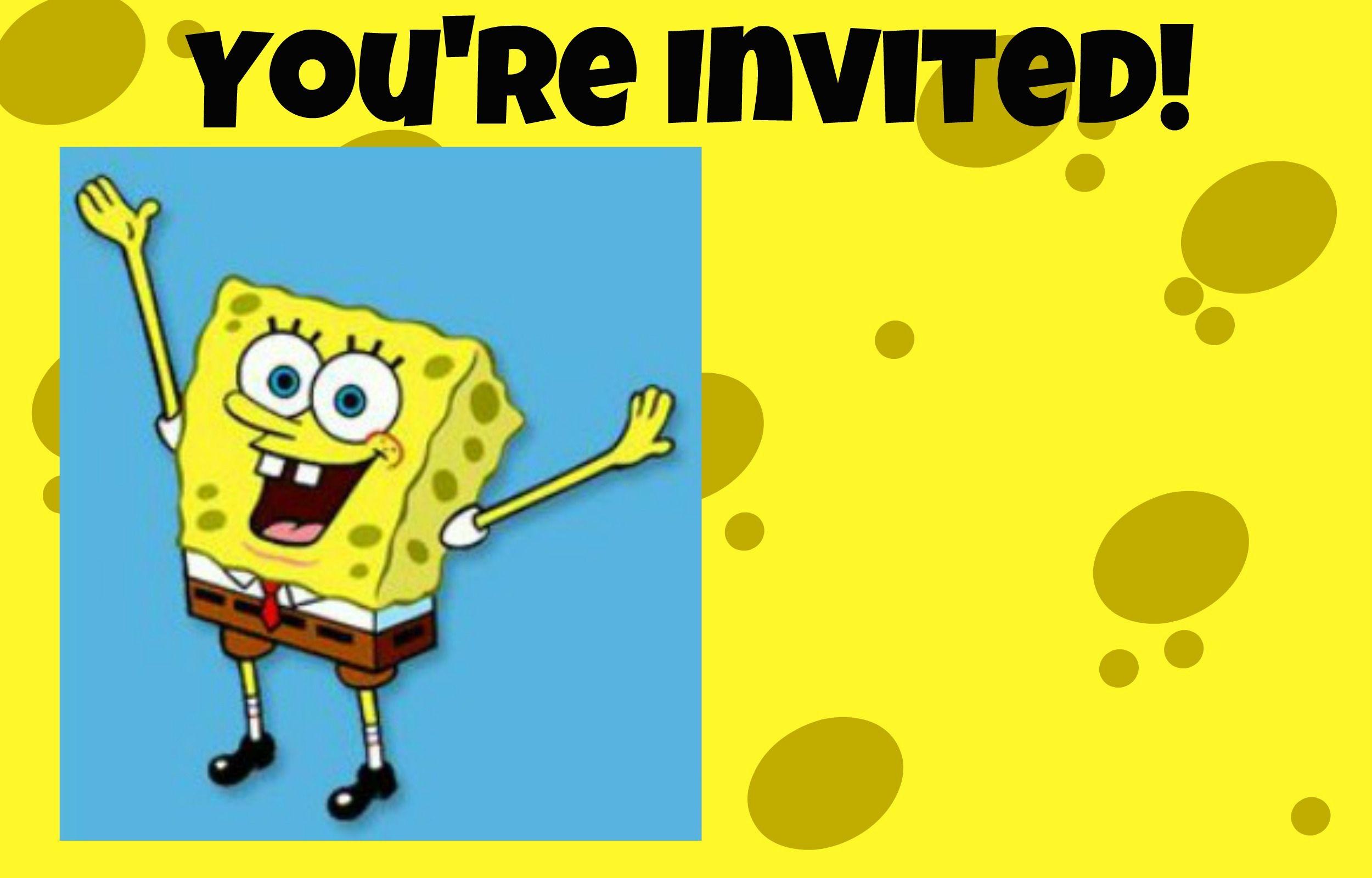 SpongeBob SquarePants invitation free printable | birthdays ...