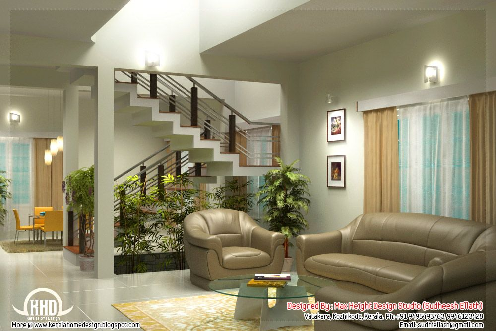 Beautiful Living Room Interior Renderings By Max Height Design Studio Kozhikode Kerala