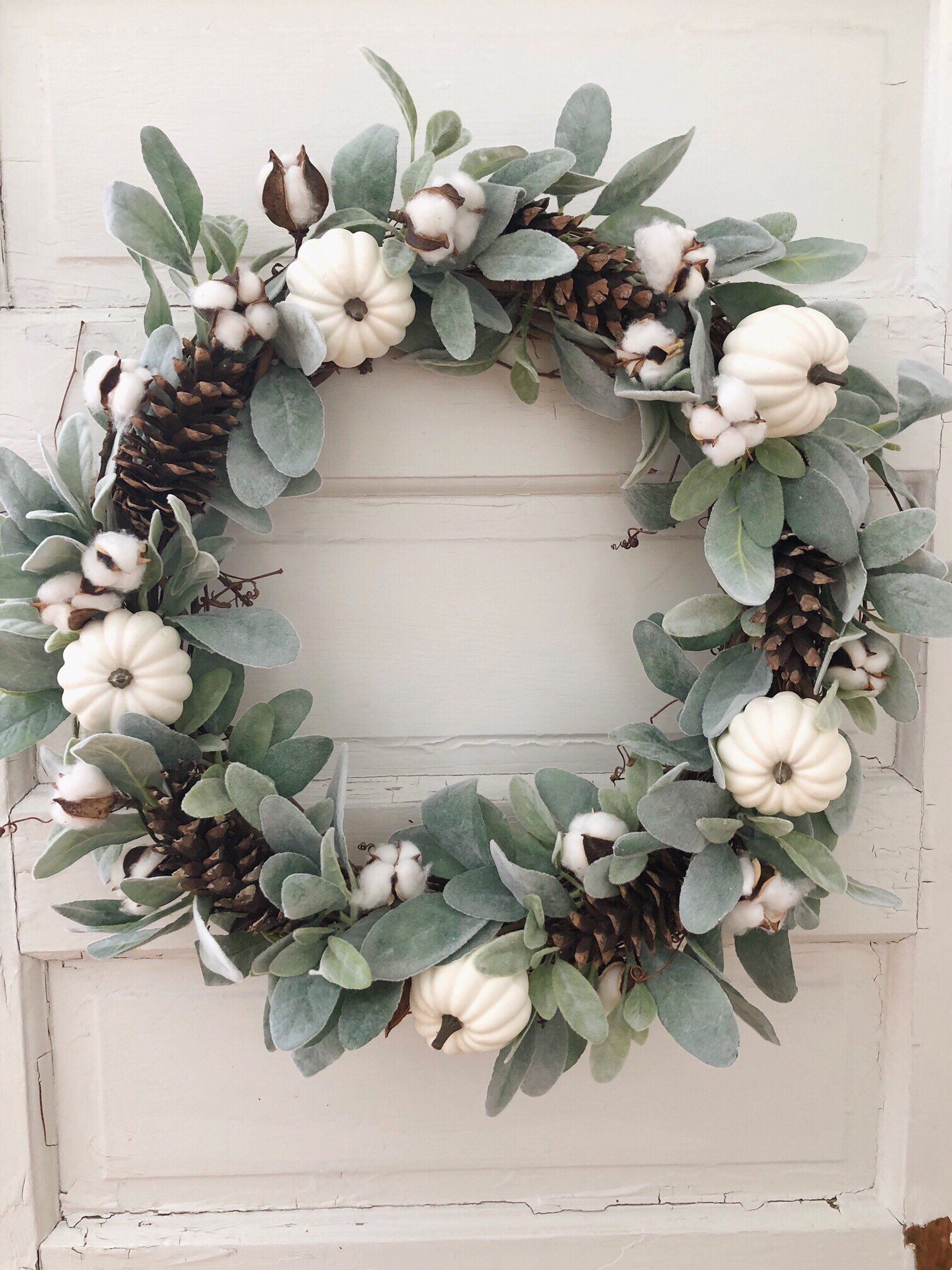 Fall White Pumpkin Wreath, Lambs Ear and Cotton Front Door Farmhouse Wreath, Cottage Wall Decor, Fall Eucalyptus Wreath #fallwreaths