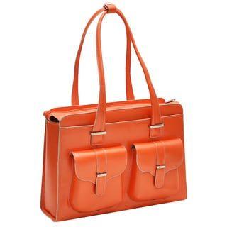 4cabea88d McKlein Women's Alexis Leather 15.4-inch Laptop Briefcase (Orange), McKlein  USA