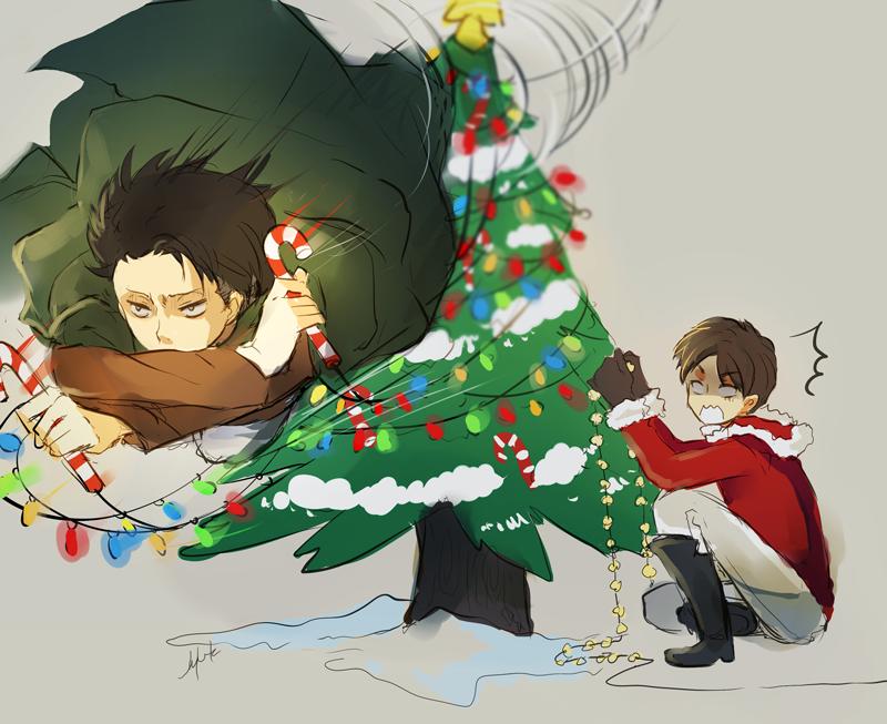 Snk Happy Holidays By Hai Do On Deviantart Anime Christmas Anime Anime Guys